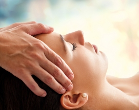 Woman having facial massage.